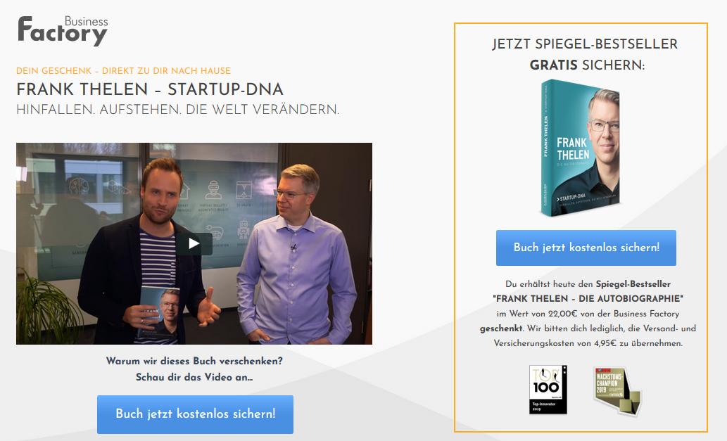 gratis exemplar von startup dna frank thelen bestellen
